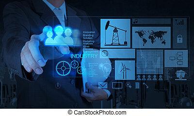 Ingenieurunternehmer, der an moderner Technologie als Konzept arbeitet