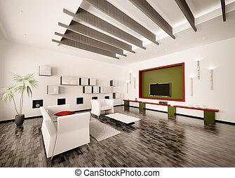 Innen des modernen Wohnzimmers 3D-Stück