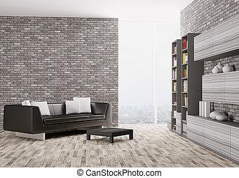 Innen des modernen Wohnzimmers 3d