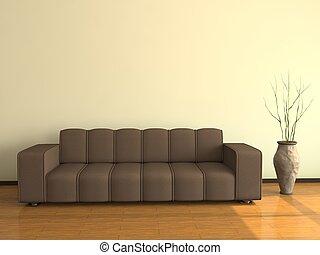 Innen mit dem großen Sofa
