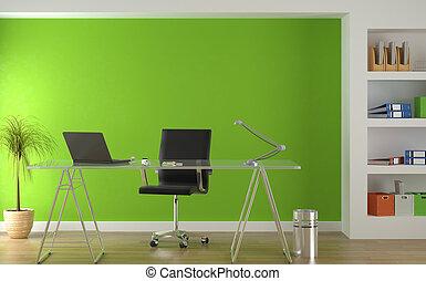 Innenarchitektur des modernen grünen Büros