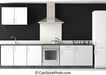 Innenarchitektur moderner schwarzer Küche