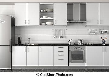 Innenarchitektur moderner weißer Küche