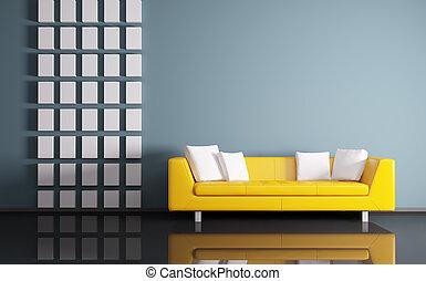Innenaufnahme mit Sofa 3d
