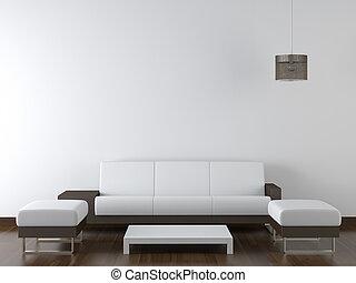 Innenausbau moderne weiße Möbel an der weißen Wand.