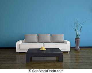 Innenausstattung mit Sofa und Tisch