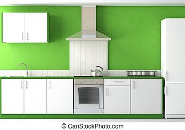 Innendesign der modernen grünen Küche.