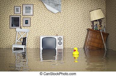 inneneinrichtung, überschwemmt