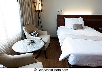 inneneinrichtung, hotel, modernes zimmer, bequem