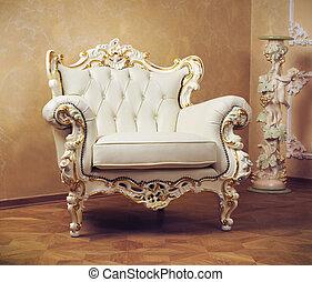 inneneinrichtung, luxus, geschnitzt, möbel