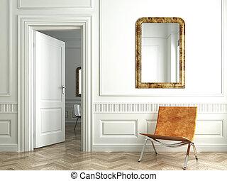 inneneinrichtung, weißes, klassisch, bisschen, spiegel