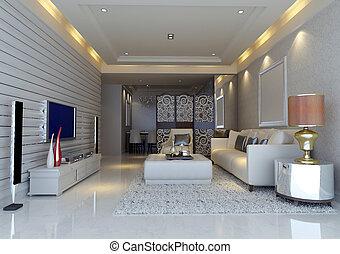 inneneinrichtung, wohnzimmer, modern, render, 3d
