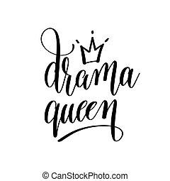 inschrift, schwarz, drama, weißes, hand, königin, beschriftung