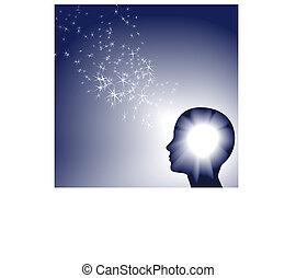inspration, person, brillant, licht, funkeln, gesichter, weißes