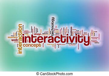 interactivity, abstrakt, wort, wolke, hintergrund