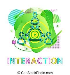Interaktionssymbol, Mensch und Pfeile, Zusammenarbeit