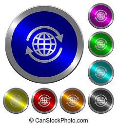 Internationale leuchtende Münz-ähnliche runde Farbtasten.