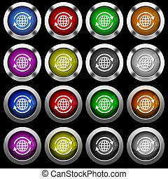 Internationale weiße Icons in runden Hochglanzknöpfen auf schwarzem Hintergrund