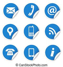 Internetkontakt-Ikonen auf blauen Etiketten