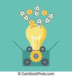 Investieren in Ideen, Leute finanzieren Konzept. Flat Design.