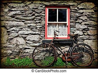 irisch, grunge, beschaffenheit, ländlich, hütte, fahrrad