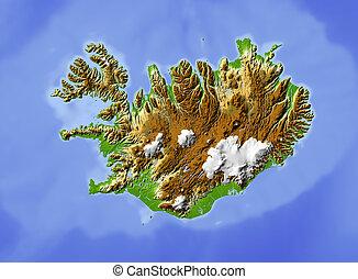 Island, abgeschirmte Landkarte.