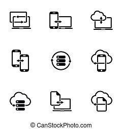 isolated., symbol, einfache , vektor, tauschen, daten, fester entwurf, abbildung, hintergrund, wohnung, thema, weißes, zeichen, gegenstand, heiligenbilder, sammlung