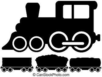 Isolierte Lokomotivbahn und Auto.