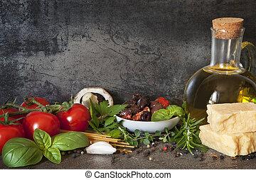 italienesche, hintergrund, lebensmittel