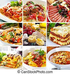 Italienische Lebensmittelkollage