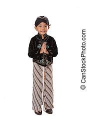 javanese, clothes., kind, traditionelle , porträt