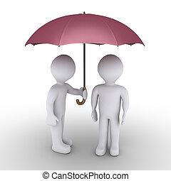 Jemand, der mit einem anderen Schirm beschützt.