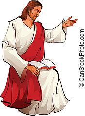 jesus, sitzen, ansicht, christus, seite