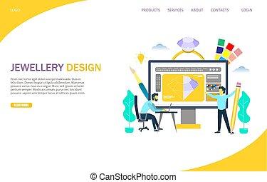 Jewellery Design Vektor Website Landing-Seite Vorlage