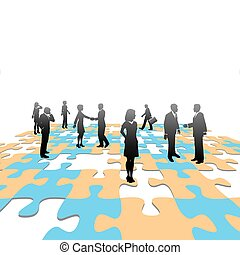 Jigsaw-Puzzle zerlegt Geschäftsleute Teamlösung
