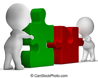 Jigsaw-Stücke, die vereint sind, zeigen Teamwork und Zusammenarbeit