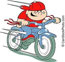 Junge auf Fahrrad-Clip-Kunst im Retro-Stil