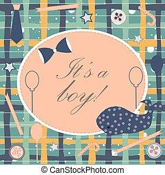 junge, dusche, wal, announcement., ankunft, einladung, card., announces, baby, reizend, geburt