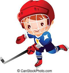 junge, hockey, eis, spieler