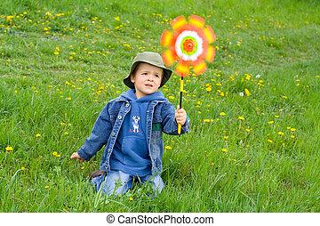 Junge im Wind
