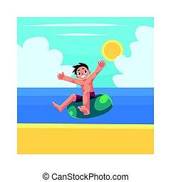 Junge, Junge, Kinderbetreuung, Schwimmring, Spaß am Sommerwasser