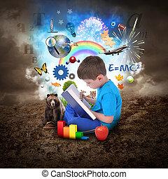 Junge lesen Bücher mit Bildungsgegenständen