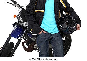 junge, seine, motorrad