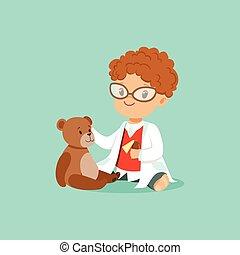 junge, seine, patient, mã¤nnerhemd, untersuchen, teddy, toy., doktor, zeichen, bär, lockenköpfig, s, mantel, baby, hose, weißes, kleinkind, brille