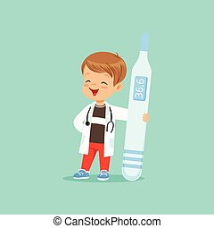 junge, seine, ungefähr, groß, arzt., kind, zeichen, spielende , halten stethoskop, thermometer., mantel, baby, weißes, medizin, karikatur, hals