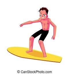 Junger Mann auf dem Surfbrett, genießen Sie Sommerwasseraktivitäten