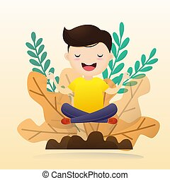 Junger Mann, der Meditation mit Glühbirne sitzt. Konzept des kreativen Denkens. Vector, Illustration.
