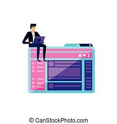 Junger Mann mit Laptop in Webpage Vorlage.