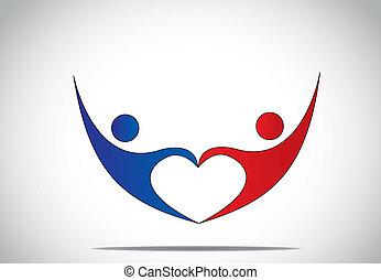 Junger Mann und Frau Paar Tanz & Hände in Liebesherzform. Blau und rot gefärbte glückliche männliche und weibliche Symbole tanzen und springen mit Freude und Glück mit Hände hoch - Konzeptsymbol