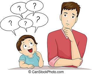 Junger Vater Fragen.
